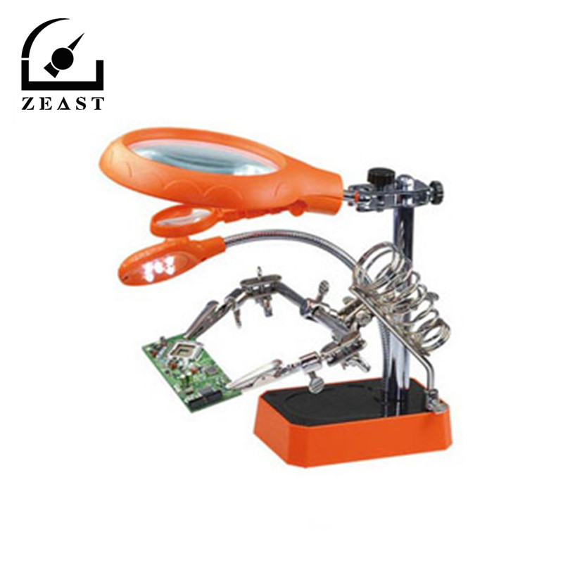 EU Plug 5 LED Light Magnifier Magnifying Glass Helping Hand Soldering Stand with 3 Lens Orange Repair Tools  6 x 10cm<br>