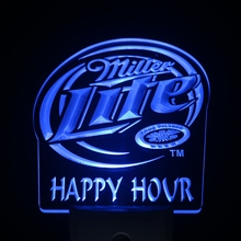 ws0198 Miller Lite Happy Hour Beer Day/ Night Sensor Led Night Light Sign