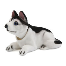 X Autohaux Car Interior Decor Bobbing Shaking Head Nodding Husky Dog Ornament Black White(China)
