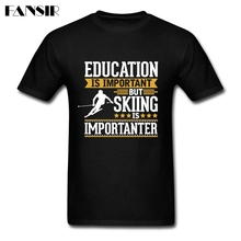 Top Designed Tshirts For Men 100% Cotton Short Sleeve Skiing Is Importanter Family Brand Clothing Men T-shirt(China)