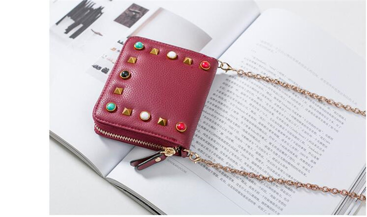 MJ Women Wallets Fashion Colorful Rivets PU Leather Zipper Coin Purse Card Holder Short Wallet with Chain Shoulder Strap (51)