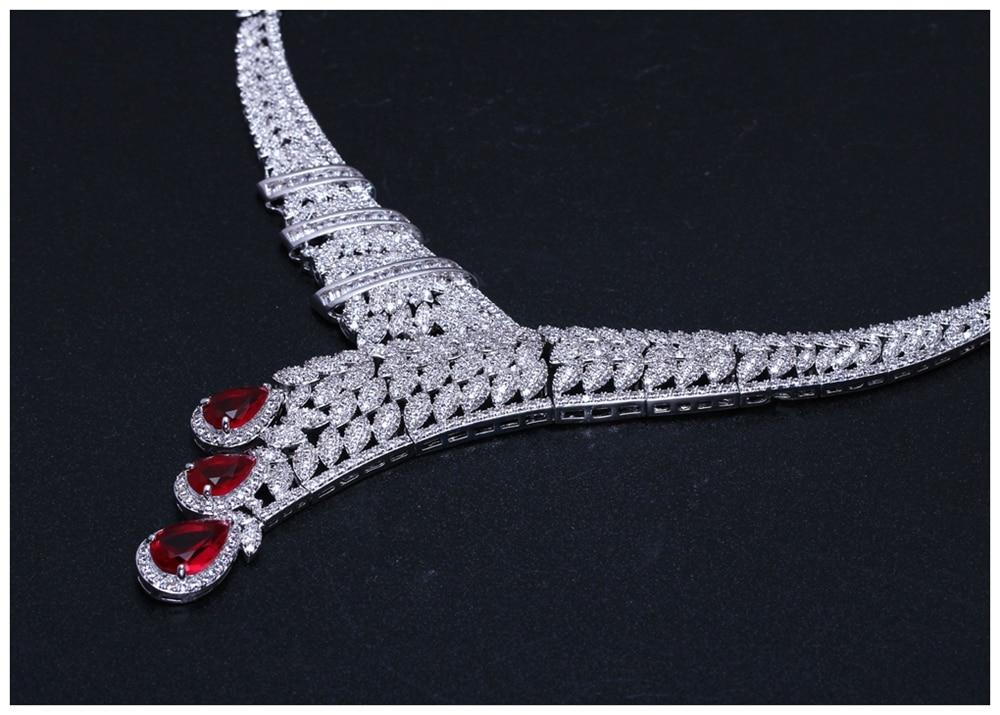 Red drop jewellery set SN04156SI (6)