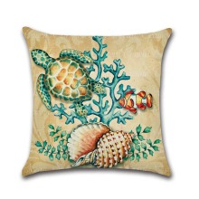1 pcs Creative  Cushion cover Marine Ocean Style Sea Turtle Tropical fish Sea Horse Patterns Cotton  Linen Home Decor Pillows
