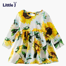Little J Girl Sunflower Princess Dress New Autumn Baby Ruched Wedding Dresses Kids Costume Causal Clothes roupa infantil menina