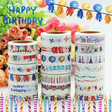 (5 pieces/lot) Happy Birthday Wahi Tape Color Paper Sticker DIY Party Scrapbooking Masking Tape