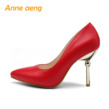 High Heel Thin Heel Sexy Office Ladies' Pumps Red Black Blue Wedding Shoes Spring Summer Elegant Pointed Toe Classic Women Shoes(China)