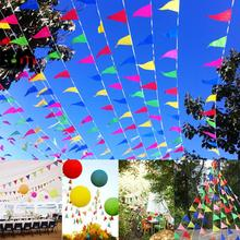 Colorful Triangle Hanging Pennant Flags String Banner Buntings Birthday Party Supplies Kindergarten Camping Site Decoration 40m(China)