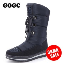 GOGC (High) 저 (Quality Fur Winter Boots Women 2018 Cross 발전 계통 연계 태양 광 Warm 봉 제 눈 Boots Women 방수 Plus Size 플랫폼 종속적 부츠 Women(China)