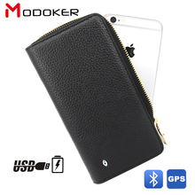 Modoker Genuine Leather Male Clutch Wallets with USB charge Portable Source & GPS Tracker & Bluetooth Finder, Black(China)