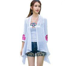 Buy Summer Women T Shirt Embroidery Sun-protective Clothing Vintage Chiffon Tops Tee Casual Long Sleeve T-Shirt Cardigan Clothes for $14.27 in AliExpress store