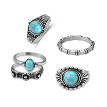 FUNIQUE 5~6 Pcs/Set Women Midi Rings Antique Silver Color Knuckle Jewelry Nature Stone Paved Ring Set Vintage Bijoux for Women