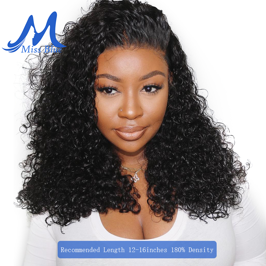 Missblue Jerry Curly Lace Front Human Hair Wigs For Black Women Brazilian Remy Hair Lace Frontal Short BOB Wigs With Baby Hair(China)