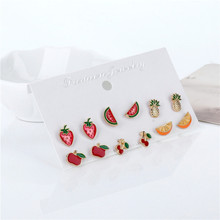OATHYAN New Style Gold Color Alloy Fruit Stud Earrings Set For Women Children Cute Red/Yellow Enamel Mini Ear Studs Brincos(China)