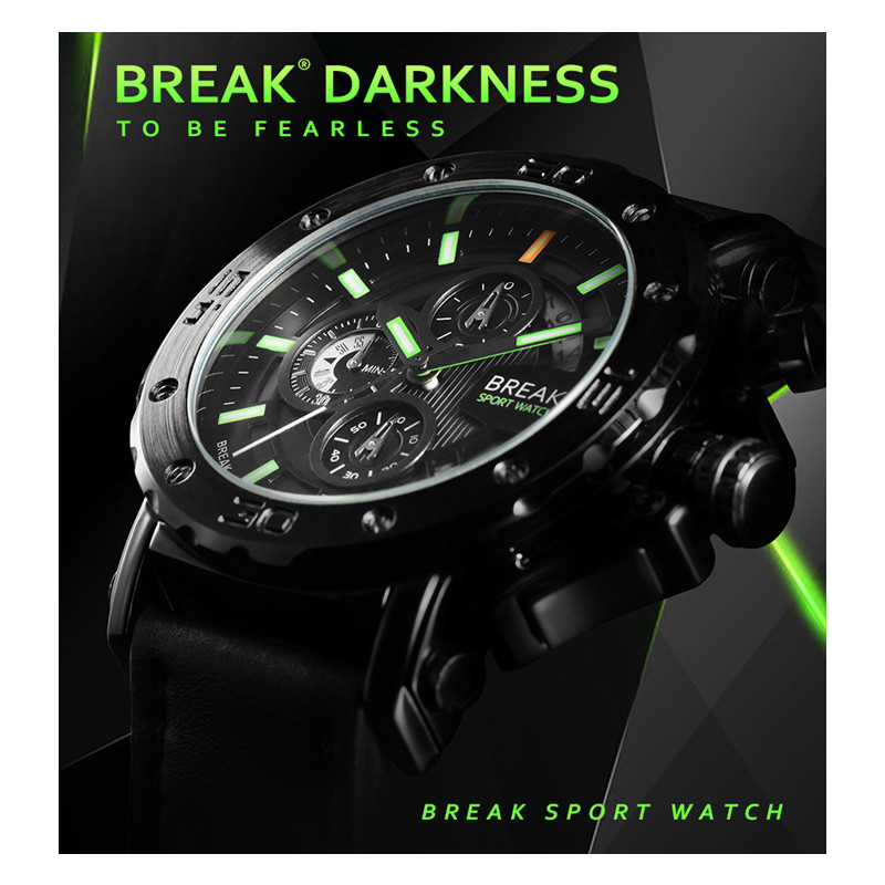 Leather Strap Men Watches Top Luxury Brand Casual Fashion Chronograph Watch Luminous Business Sport Youth  Military Wristwatches<br>