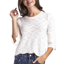 Women Hollow out Lace Sweaters Basic Pullover Sweater Loose Knit O-neck Solid Color Autumn Female Casual Sweater Tops(China)