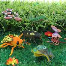 8pcs Mini Insect Toy Model Set Snake Grasshopper Butterfly Scorpion Hexapod Decor Figures Model Set With Tree Model Sets