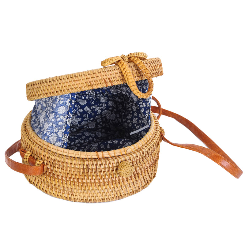 Women Straw Bags Female Round Beach Bag Knitted Lady Bohemian Vintage Rattan Shoulder Bag Handmade INS Popular Weave Bag SS3125 (6)