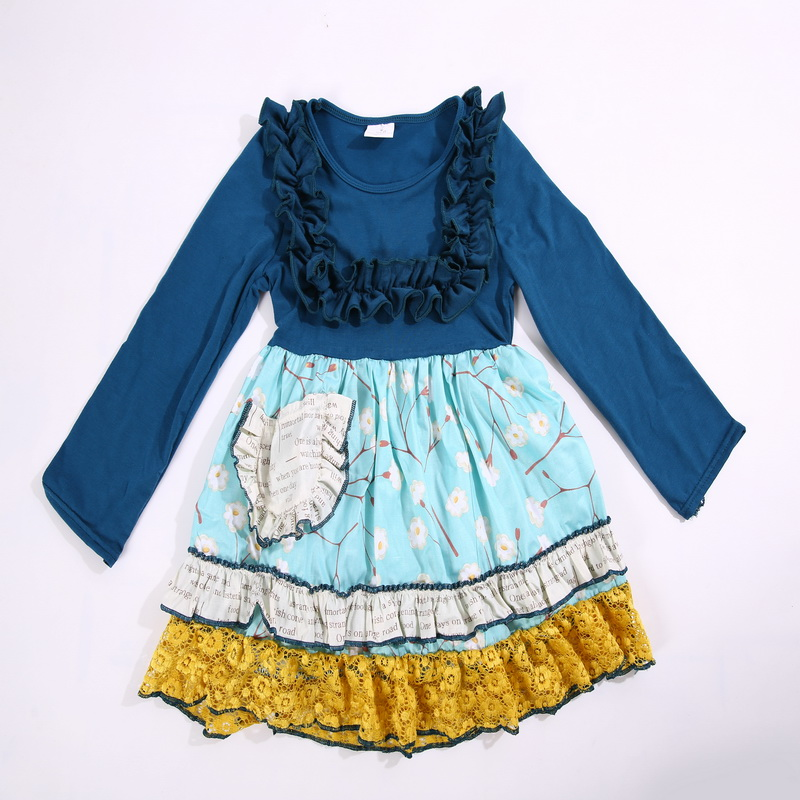 2017 Hot Sale Spring and Autumn Full Sleeves Solid blue Baby Girls Dress For Birthday Present and Party Apparel Accessory<br>