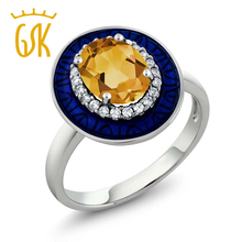 GemStoneKing Citrine Jewelry 1.76 Ct Oval Natural Yellow Citrine 925 Sterling Silver Engagement Ring For Women