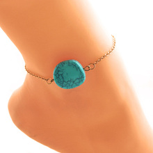 Sexy Beach Turquoises Anklets For Women Lovely Gold Color Multilayer Foot Chains Jewelry Barefoot Sandals Ankle Bracelets(China)