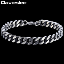 Buy Davieslee Curb Link Bracelet Chain Mens Boys Cut Cuban Wristband Bangle Stainless Steel Silver Tone 8/10/12mm DKBM148 for $4.87 in AliExpress store