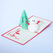 Hot Sale Arrival 3D Pop Up Greeting Cards Christmas Tree & Snowman Thanksgiving Happy New Year Holiday Party Gifts Supplies(China)