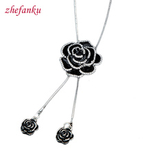 Buy Zircon Snowflake Long Necklace Sweater Chain Fashion Fine Metal Chain Crystal Rhinestone Flower Pendant Necklaces Adjusted for $1.25 in AliExpress store