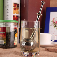 Tea Strainer Infuser Stainless Steel Retractable Push Type Mesh Reusable Strainers Filter Teaspoon for Teaot Cup Bottle