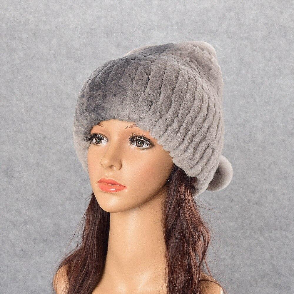 youe shone Genuine Rex Rabbit Fur Womens Hats Winter Beanie Cap Rex Rabbit Fur Balls Hat Warm Real Rabbit Knitted Caps HeadgearÎäåæäà è àêñåññóàðû<br><br>