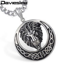 Punk Sun Buddha Lion Carved Knot Pendant Men Chain Black Silver Gold Color 316L Stainless Steel Pendant Necklace Wholesale LHP96(China)