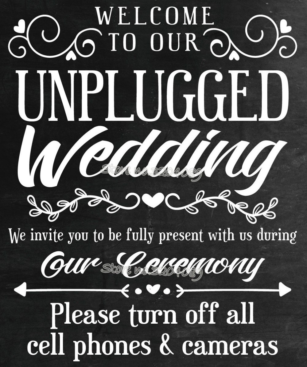 Black And Gold Unplugged Wedding No Phones Personalised Wedding Sign