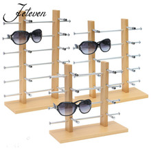 2 Row Eyeglasses Sunglass Display Stand Holder Rack Wood Metal Frame Organizer For 12/10/8/6 Pair Glasses Jewelry Shelf 2018(China)