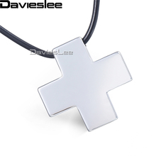 Davieslee Mens Womens Tungsten Pendant Necklace Silver Polished Cross Black Leather Chain LTN01