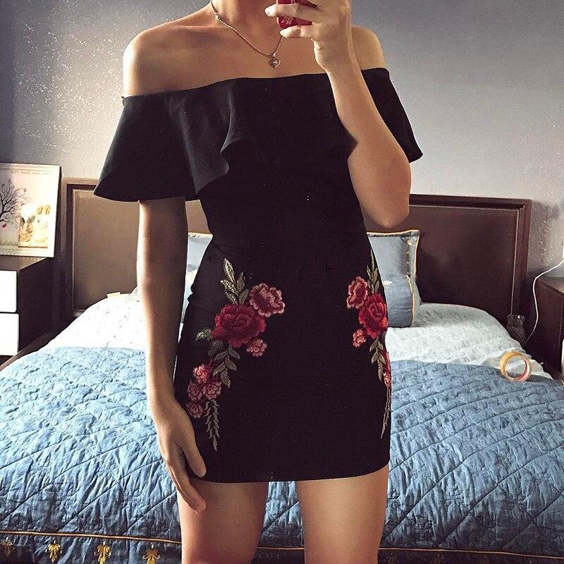 Women Summer Dress 2018 Off Shoulder Appliques Bodycon Sexy Ruffled Dress Stylish Sexy Slim Beach Sundress Dresses Vestidos 5