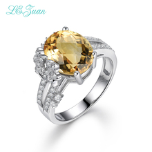 I&zuan S925 Silver Citrine Rings For Women Luxury Oval 4.75ct Natural Cut Gemstones Anniversary Weeding Fine Jewelry(China)