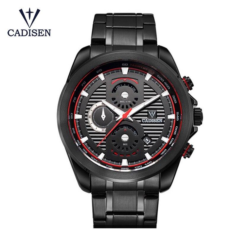 CADISEN New Men Three Eyes Stainless Steel Quartz Watch Men Luxury Brand Black Clock Relogio Masculino Sports Watches Hot Sale<br>