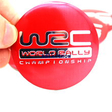 New 4pcs WRC FIA World Rally Championship Red Car Wheel Center Hub Caps Cover Rim Sticker Reflective Badge Fit Auto Styling