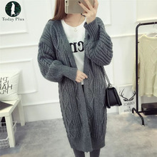 Today Plus 2017 New Women's Sweater Long Thick Sectionof Loose Big Yards Parka Solid Color Cardigans Knit Sweater Female Coat(China)