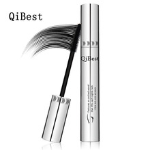 QiBest Bushy Mascara Waterproof Non-Smudge Silicone Brush 3d Colossal Curling Black Mascara Fibre Eye Makeup Silver Tube(China)