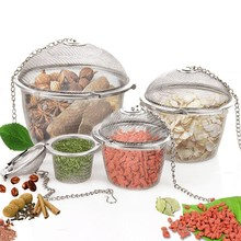 Ball Shape Tea Filter Basket Infuser Spice Seasoning Bag Mesh Tea Strainer Chained Lid Kitchen Tools Stainless Steel S/M/L(China)