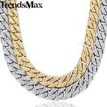 14mm 60cm Hiphop Bling Jewelry Necklace for Men Iced Out Miami Curb Cuban Link Chain Gold Silver Color CZ Rhinestones GN432(Hong Kong,China)