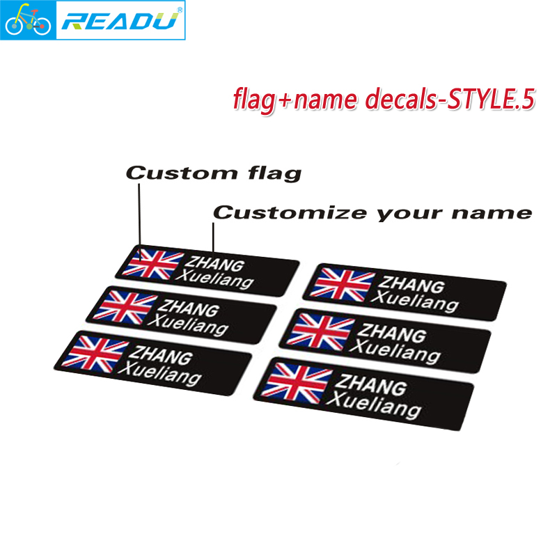 Road Bike frame flag personal name custom Rider ID stickers Mountain bicycle flag name custom decals STYLE.5