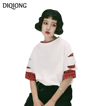 Diqiong summer 2017 harajuku shirt women ulzzang korean Fake Two Pieces Loose Solid Hollow hole T Shirt Cut Out Round Neck tops
