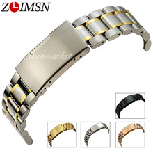 ZLIMSN 316L Solid Stainless Steel Watch Strap Single Button Fold Deployment Clasp Silver Gold Two Tone Bracelets 18 20 22 24mm(China)