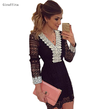 2017 New Women Dress Summer Spring Sexy Slim Net Yarn Lace V-neck Stitching Broken Beautiful Black And White Dress