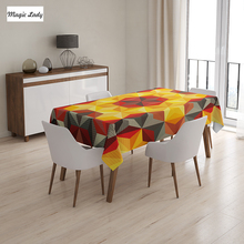 Large Table Cloth Psychedelic Design Geometric Kaleidoscope Diagonal Fractal Image Orange Red Black 145x120 cm / 145x180 cm