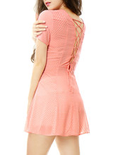 Allegra K Women Polka Dots Lace Up Back Short Sleeves A Line Dress