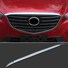 FIT FOR 2012-2015 2016 MAZDA CX-5 CX5 CHROME FRONT HOOD BONNET GRILL GRILLE LIP MOLDING COVER TRIM BAR GARNISH SPOILER PROTECTOR
