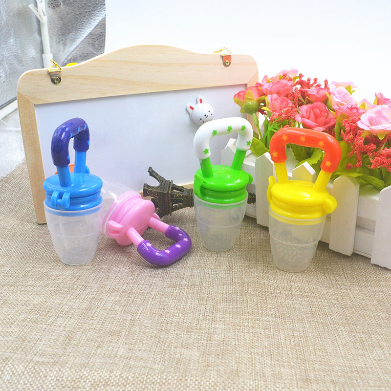 Colorful Baby Fruits And Vegetables Bite Bags Infant Teether Pacifier Reassure Chlidren Silicone Buckle Drinkers  (8)