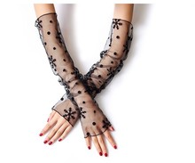 Black white Multi use long lady girl Sexy Disco dance costume anti uv driver lace fingerless long gloves arm warmer free shippin